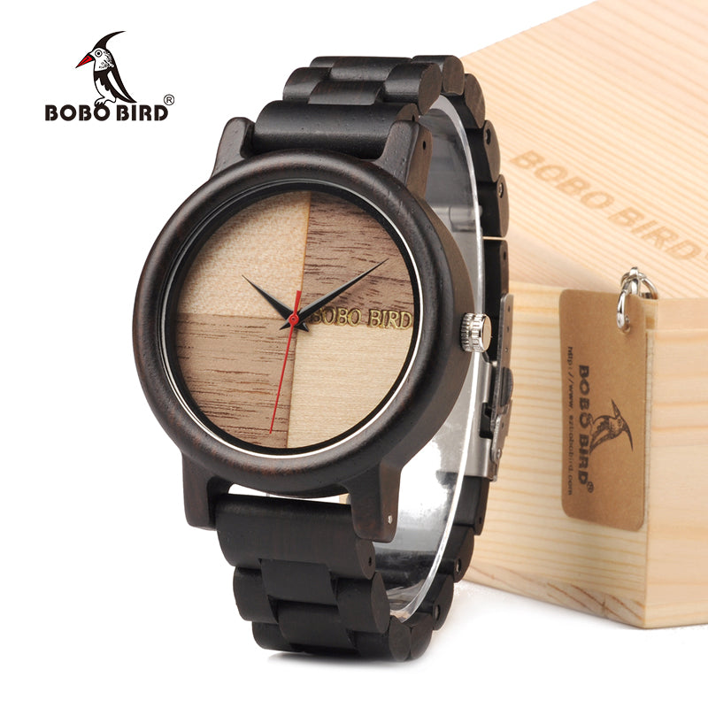 BOBO BIRD N07 Handmade Unique Wood Quartz Men Watch With Ebony Wood band Lightweight For Men Dress Watches With Gift Box