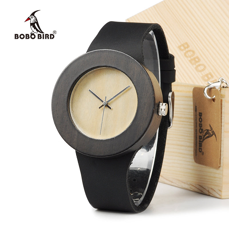 BOBO BIRD Retro Round Women's Wooden Watches With real leather bands top brand designer classic style dress watches for women - Zamavi.com