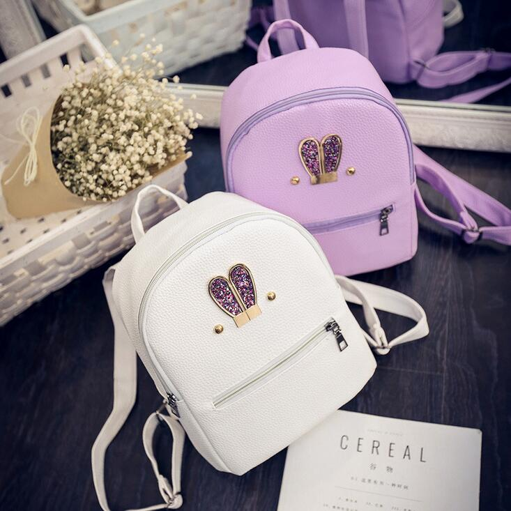 Fashion New backpack High quality PU leather Women bag Sweet girl mini shoulder bag Cute rabbit ear Sequins rivet small backpack - Zamavi.com