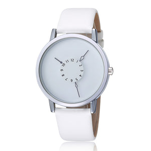New Round Dial Simple Style Leather Band Quartz Wrist Watch Analog Women Lady Men Unisex Best Gift 2 Colors Q0942-1 - Zamavi.com
