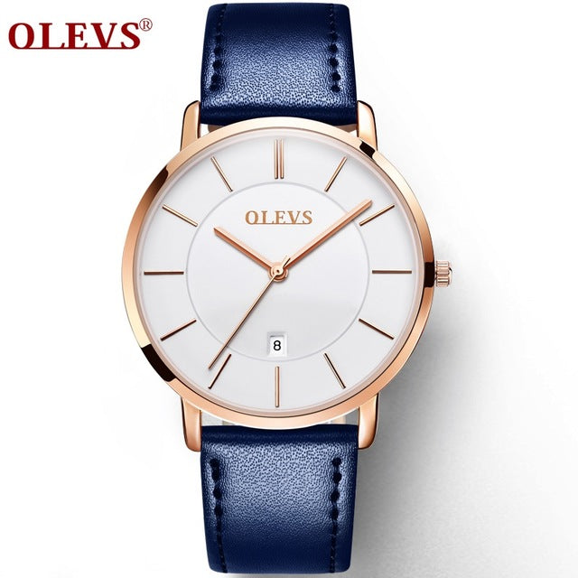 OLEVS Ultra thin Fashion Male Wristwatch Leather Watchband Business Watches Waterproof Scratch-resistant Men Watch Clock G5869P - Zamavi.com