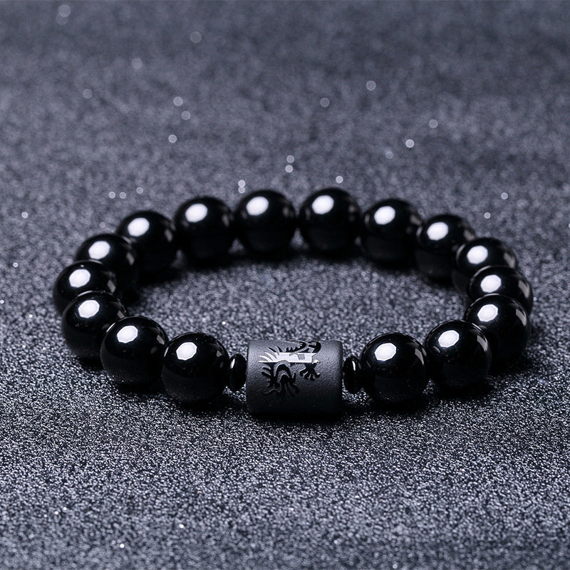 2017 Ethnic Style Couple Bracelet Obsidian Beads Dragon and Phoenix Charm Bracelets for Women man Luxury Jewelry pulseras
