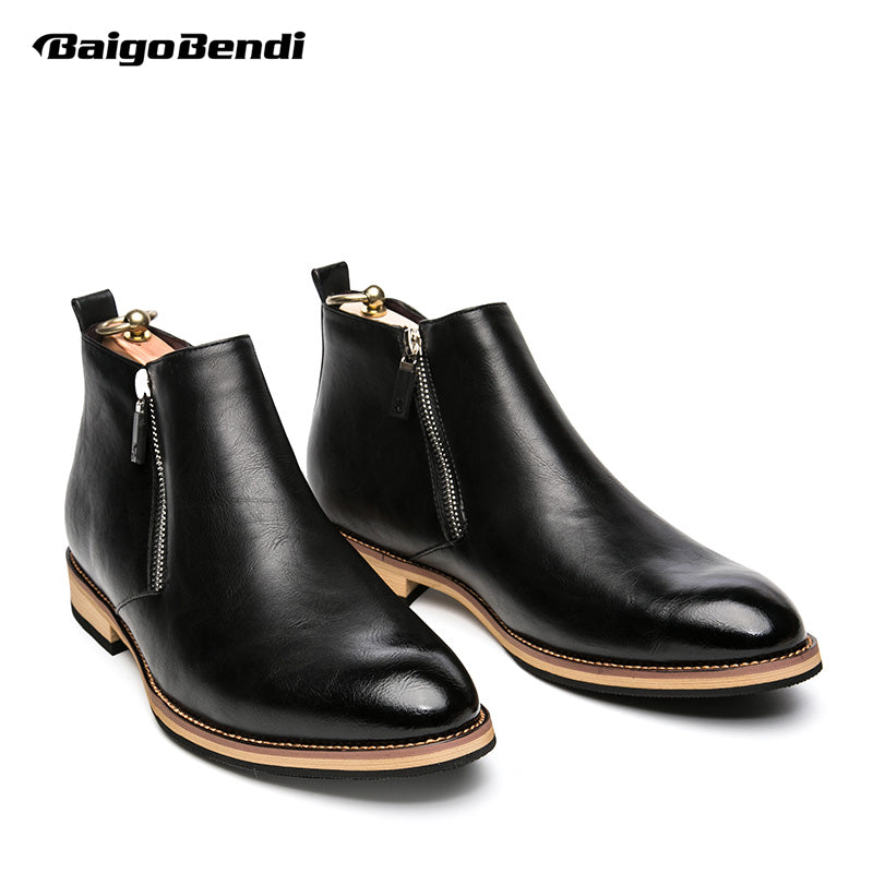 New Winter Leather Zip Ankle Boots Fashion Mens Pointed Toe Riding Boots Formal Dress Wedding Oxford - Zamavi.com