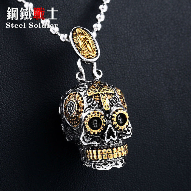 drop shipping hip hop skull man necklace steel pendant punk skull men jewelry necklace neccessories - Zamavi.com