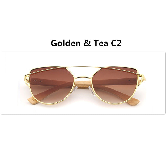HDCRAFTER Women Cat Eye Polarized Sunglasses Wooden Legs Coating Mirror Sun Glasses Female Twin-Beams Brand Design Wood Glasses - Zamavi.com