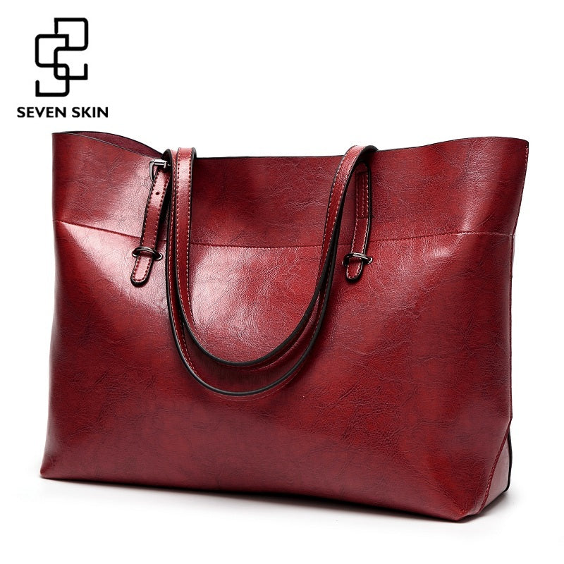 SEVEN SKIN Women Messenger Bags Large Size Female Casual Tote Bag Solid Leather Handbag Shoulder Bag Famous Brand Bolsa Feminina - Zamavi.com