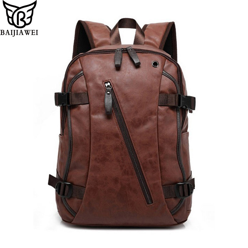 BAIJIAWEI Hot Sale Men's Backpack Mix Cow Leather Backpack Casual&Travel Bags Split Leather Backpacks Business Bags For Men