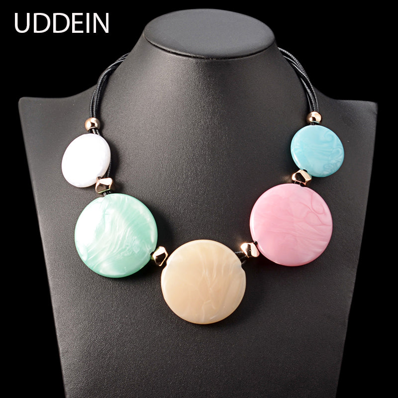 UDDEIN multi layer black leather chain big order price color resin gem statement choker necklace women bohemian maxi necklace - Zamavi.com