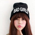 New 2016 Warm Winter Knit Hats Unique Bad Girl Knitted Black Beanies - Zamavi.com