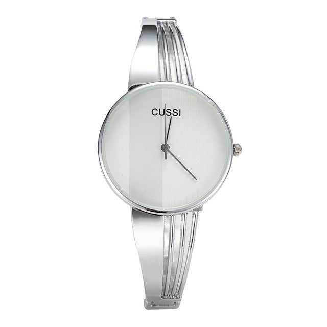 CUSSI Top Brand Silver Womens Watches Quartz Wristwatches Luxury Ladies Bracelet Watches Fashion Dress Watches relogio feminino - Zamavi.com