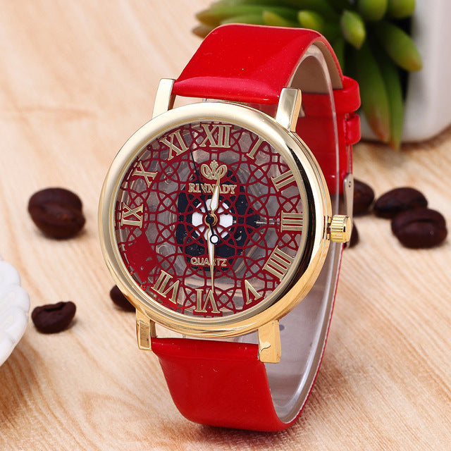 RINNADY Brand Fashion Mesh Hollow Big Dial Women Watch Glod Leather Ladies Watches Relojes Mujer 2017 Relogio Feminino - Zamavi.com