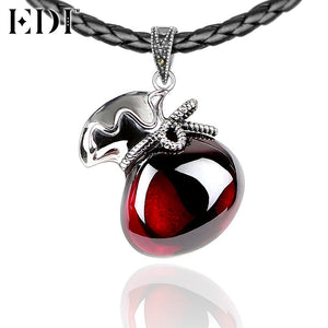 EDI 925 Sterling Silver & Marcasite Jewelry Lucky Charms Thai Silver Red Natural Gemstones Garnet Pendants Necklace for Women - Zamavi.com