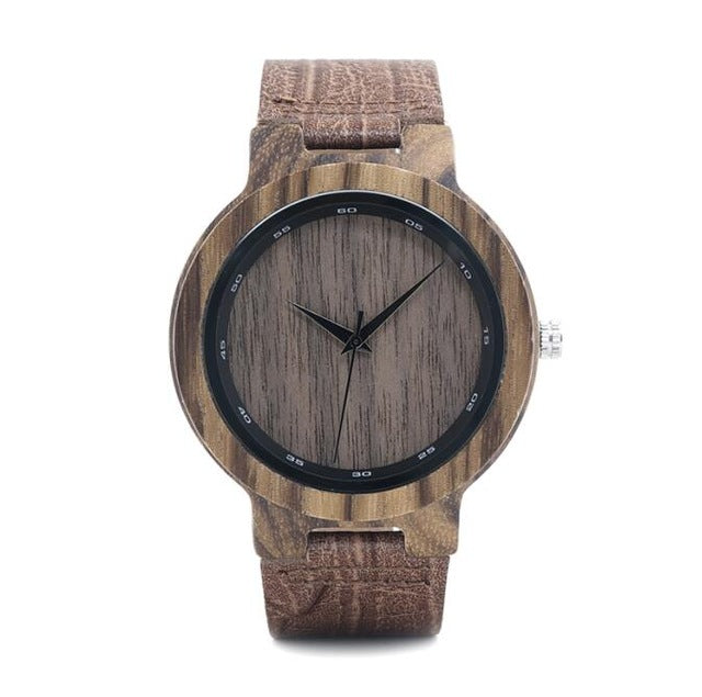 BOBO BIRD Mens Bamboo Wooden Sport Quartz Watches with Leather Band in Gift Box relojes hombre custom logo - Zamavi.com