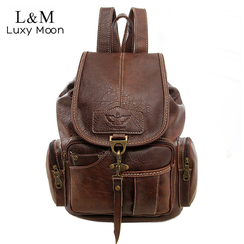 Vintage Women Backpack for Teenage Girls School Bags Fashion Large Backpacks High Quality PU Leather Black Bag Brown Pack XA658H - Zamavi.com