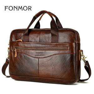 Genuine Leather Briefcases Men Handbag Natural Real Cowhide Business Shoulder Bag Hand bags High Quality - Zamavi.com