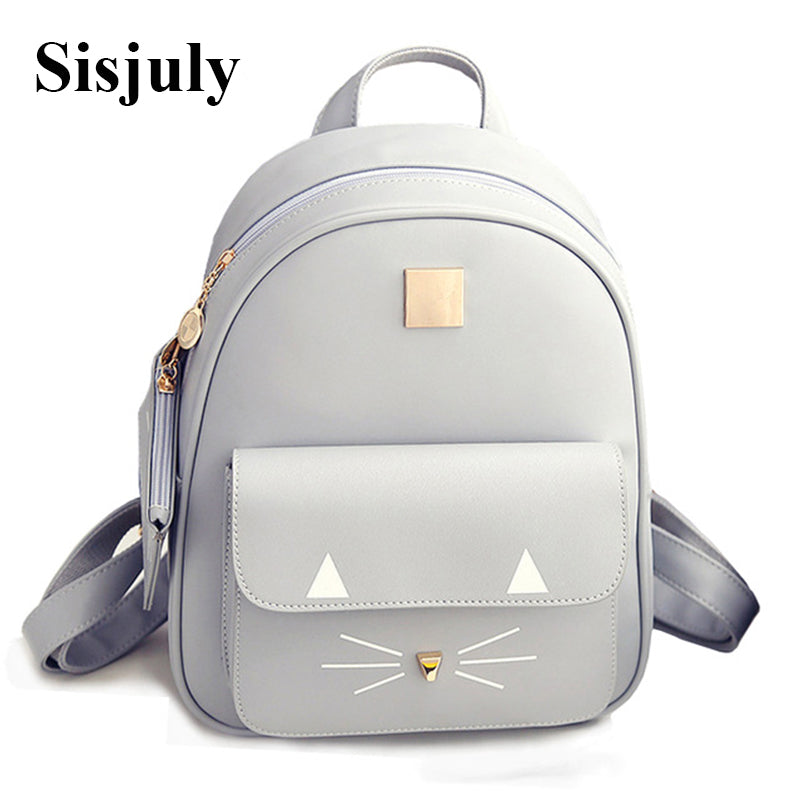 Hot Sale Cat Printing Backpack PU Leather Mini Backpacks Women School Bags for Teenage Girls Bags Children Backpack Mochilas Sac - Zamavi.com