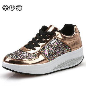 Cheap! Cool Gold Sequined Spring/Autumn Women Casual Shoes Sport Fashion Walking Shoes Swing Wedges Shoes Woman Free Shipping - Zamavi.com