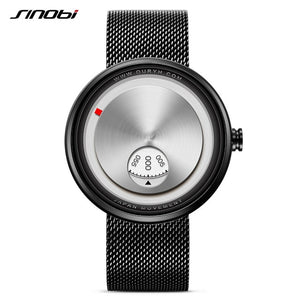 Gift SINOBI Golden Geek Watches Mens Creative Fashion Wrist Watches Rotate Plate Dial with Milan Strap Relogio Man's Japan Movt - Zamavi.com