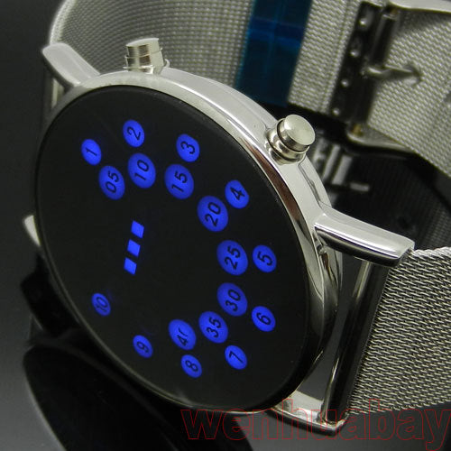 Fashion Blue LED Dot Light Watch Silver Metal Iron Mesh Band Round Dial Digital Mens Womens Lady Gift L8811 - Zamavi.com