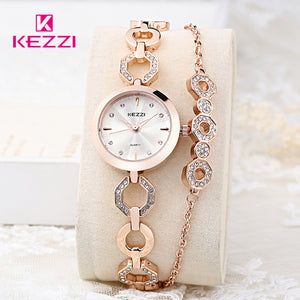 KEZZI Women Wristwatches Full Stainless Steel Bracelet Watch Hollow Pointer Japanese Movement Ladies Quartz Watch Reloj Mujer - Zamavi.com