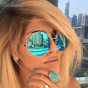 Round Oversized Mirror Brand Designer Vintage Sunglasses Women UV400 Sun Glasses - Zamavi.com