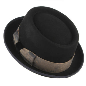 Black Color Steampunk Hat For Men Vintage Bowknot Woolen Fedora Top Hat Male Church Jazz Caps Warm Winter Hats Christmas Gifts - Zamavi.com