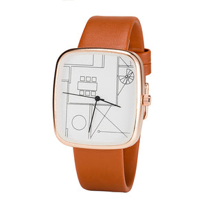 BAJEETA Graffiti Painting Simple Style Women Watch Fashion Leather Elegant Quartz Wristwatch Dress Rectangle Watches Dropship - Zamavi.com