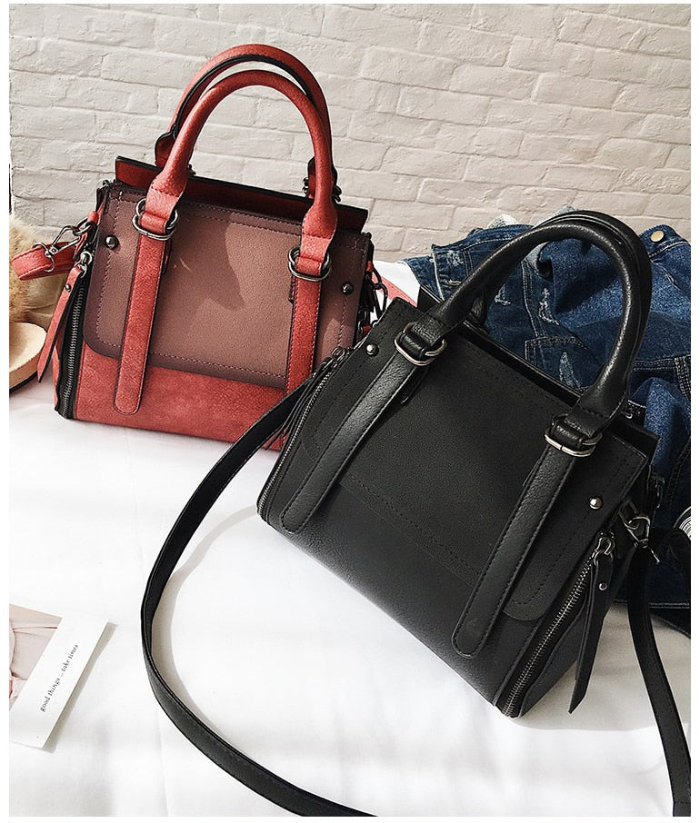 European style Fashion New Women Handbags 2018 High quality Matte PU Leather Portable Shoulder bag Ladies Hit color Big Tote bag - Zamavi.com