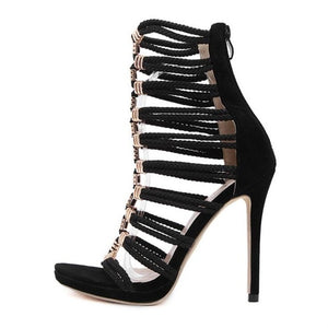 HiHopGirls 2017 New Women Gladiator Sandals Rivrt Ring Flock Cover Heel Pumps Woman Sexy Wedding zip High heels shoes - Zamavi.com