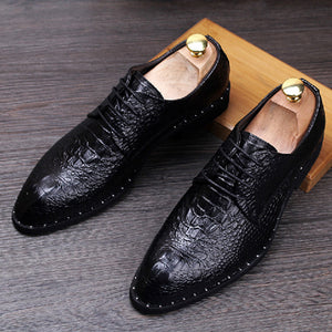 Crocodile grain black /red summer chaussures derby hommes oxford loafer shoes for mens dress shoes man wedding shoes with lace - Zamavi.com