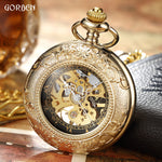 Luxury Retro Golden Hollow Skeleton Mechanical Pocket Watch Mens Fob Chain Steel Exquisite Sculpture Women Men Pocket Wath Gifs - Zamavi.com
