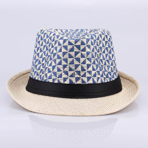 Vintage Cowboy Style Men's Braided Straw Hat triangle patchwork Gangster Panama Cap Summer Beach Travel Sunhat - Zamavi.com