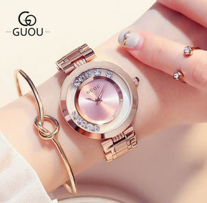 GUOU Women's Watches Ladies Watch Fashion Luxury Bracelet Watches For Women Rose Gold Rhinestone Clock Women reloj mujer saat - Zamavi.com