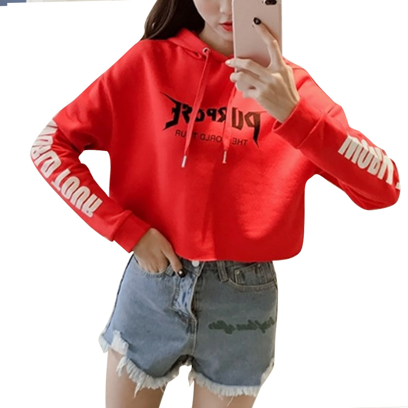 Red Sweatshirt Crop Top Loose Hoodie - Zamavi.com
