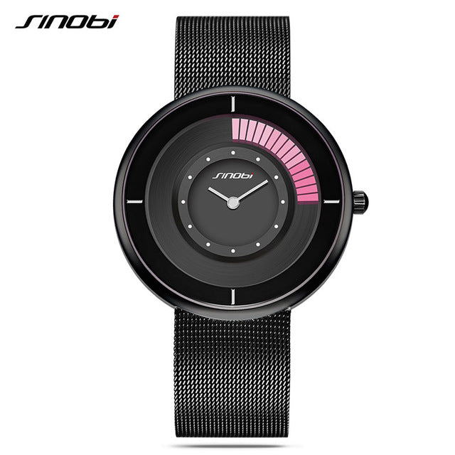 SINOBI Women Watches Brand Fashion Ladies Dress Gold Watch Ultra-thin Dial Mesh Strap Creative Quartz Watch relogio feminino - Zamavi.com
