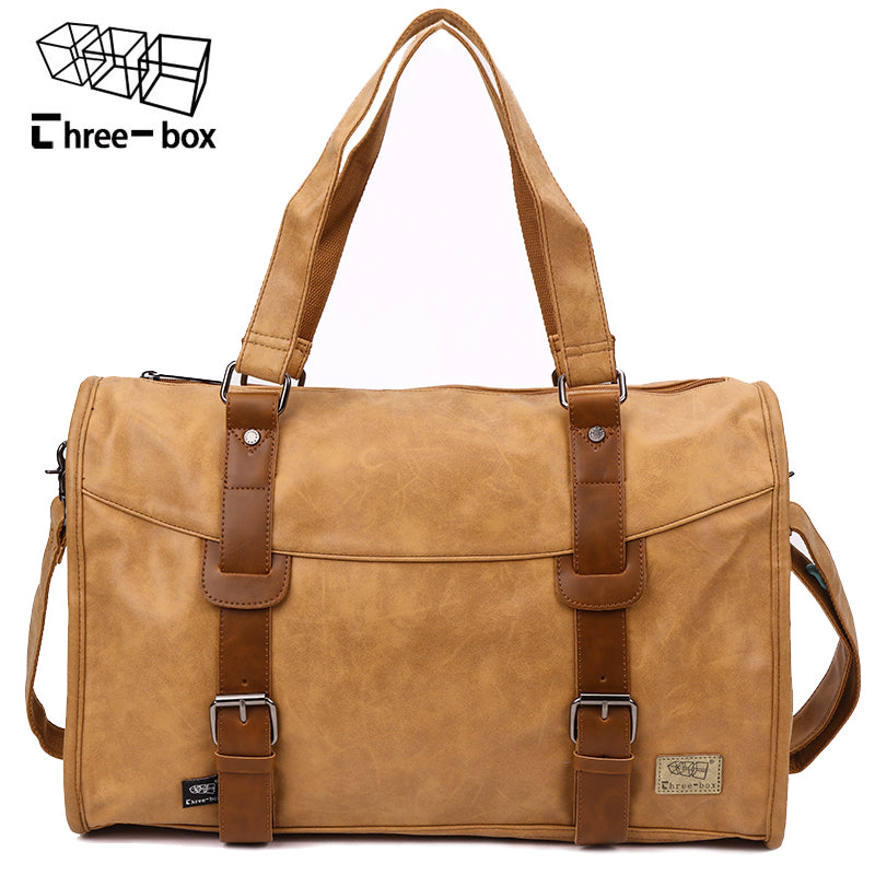 13c9320d07 Three-box Brand PU Leather Men s Handbag Casual High Quality Travel Bag  Business Large Capacity