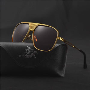MINCL/ Men Luxury Brand Sunglasses Alloy Gold Square Sunglasses HD Male Flat Lens Gradient Clear Glasses Couple Sunglases  FML - Zamavi.com