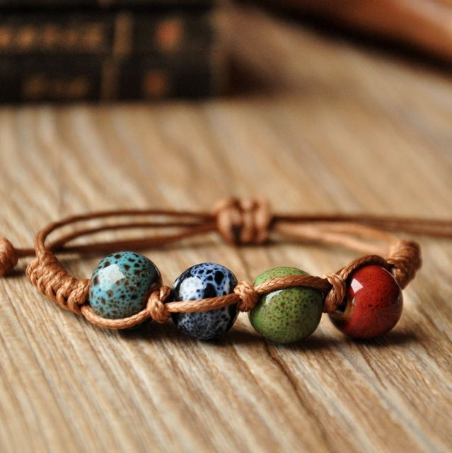 Ethnic Bracelet Handmade Braided Bracelet Unisex Geometric Ceramic Jewelry Adjustable Bracelet For Man & Women E-80 - Zamavi.com