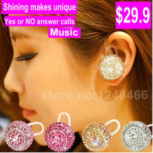 MLLSE Fashion women luxury diamond bling Bluetooth Headset V4.0+ EDR Wireless Earphones Stereo Bluetooth Headphone for all Phone - Zamavi.com