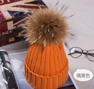 c68f7300fd9 Winter Caps Knitted Beanie Hat With Raccoon Fur Poms For Women Hip Hop  Skullies Cap Real