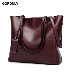 GORONLY Brand New Leather Tote Bag Women Handbags Designer Large Capacity Shoulder Bags Fashion Lady Purses Crossbody Bag Bolsas - Zamavi.com