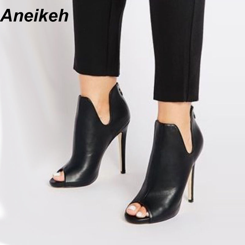 Aneikeh New Design Women Chelsea Boots Black Open Toe High Heels Shoes Spring Autumn Woman Ankle Boots Size 35 - 40 938-119# - Zamavi.com