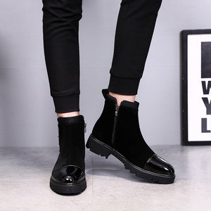 Black boots male British Martin Boots Men winter with cashmere boots and high shoes men leisure boots - Zamavi.com