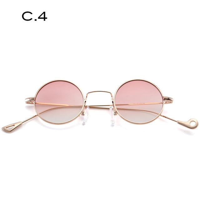 TAOTAOQI Brand Sunglasses Women Designer Luxury Metal Small Round Sunglasses Men UV400 Personality Mirror Leg Fashion Glasses - Zamavi.com