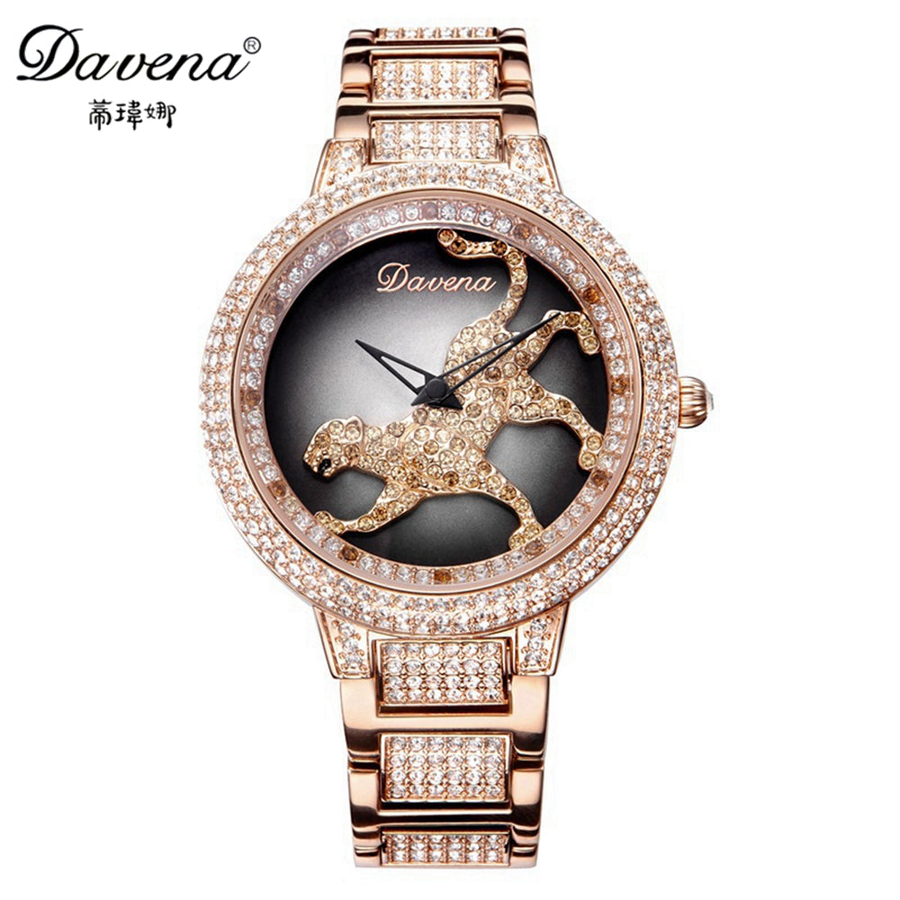 Genuine Women Luxury Bling Rhinestone Stone Leopard Run Ladies Quartz Steel Wrist Watch Top Brand Davena 60089 Clock Best Gift - Zamavi.com