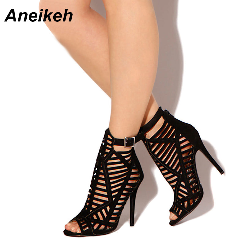 9e00577219b Aneikeh 2018 Spring New Sandals Women Pumps With Zip Sexy Open Toe Sandals  Shoes Woman Roman
