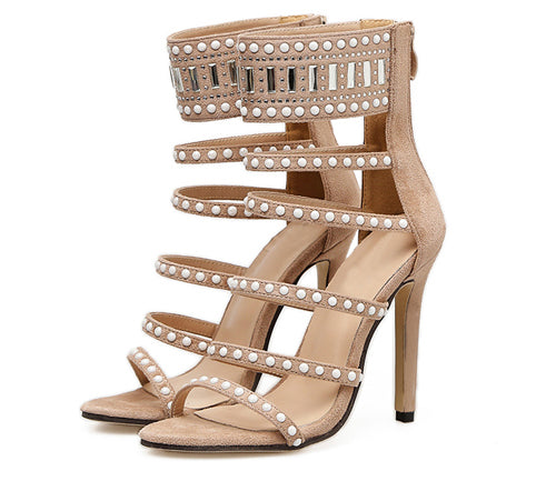 Eilyken Ethnic Open Toe Rhinestone Design High Heel Sandals Crystal Ankle Wrap Diamond Gladiator Women Sandals Black Size 35-40 - Zamavi.com