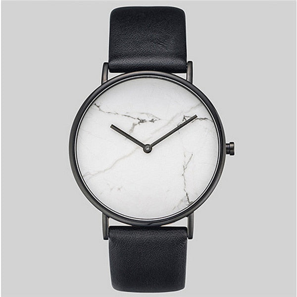2018 Fashion casual creative marble lines quartz men watches leather clock watch sport men's wristwatches relogio masculino G08 - Zamavi.com