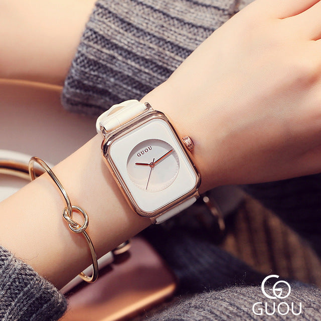 GUOU Watch Top Brand Fashion Women's Watches Genuine Leather Watch Women Watches Clock bayan saat relogio feminino reloj mujer - Zamavi.com