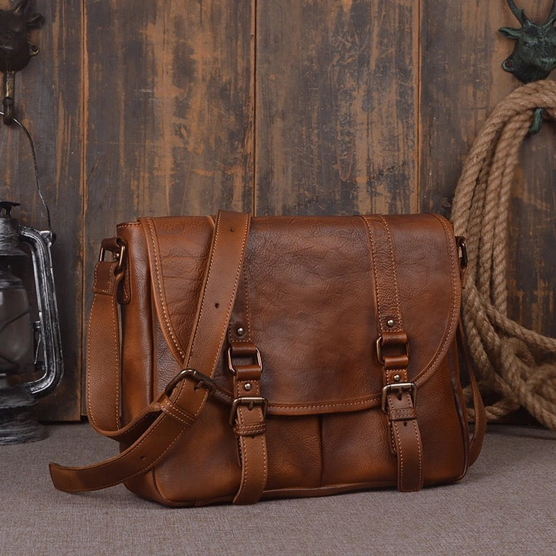 Vintage Designer Genuine Natural Cow Leather Boys Satchels Men Casual Messenger Bag Cowhide Single & Cross Shoulder Bag For Man - Zamavi.com